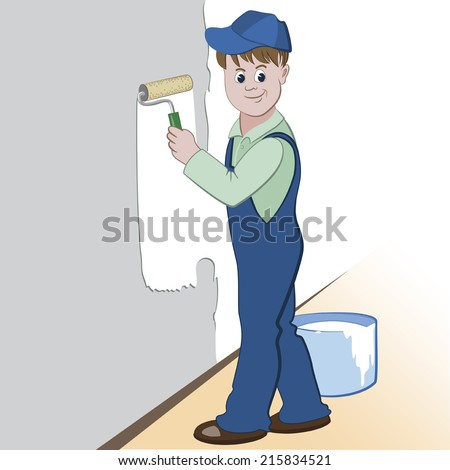 Illustration of worker with roller and paint painting the wall. (painting services design)  - stock vector