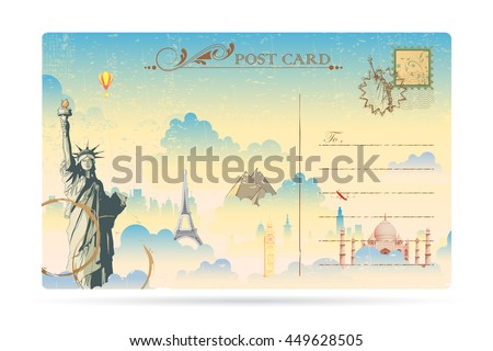 illustration of world famous monument on travel postcard - stock vector