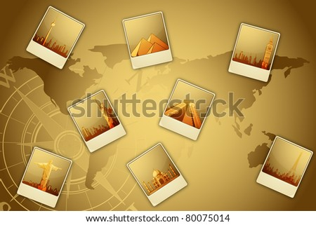 illustration of world famous monument on world map - stock vector