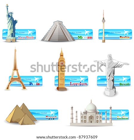 illustration of world famous monument with air ticket of different countries - stock vector