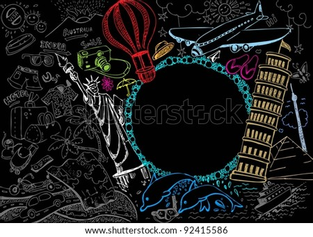 illustration of world famous monument with travel element in doodle style - stock vector
