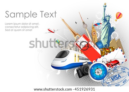 illustration of world famous monuments with travel element in tourism background - stock vector