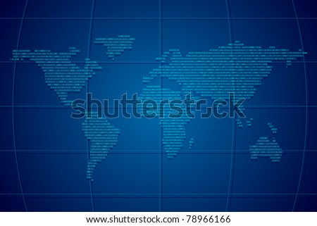 illustration of world map formed by binary number - stock vector