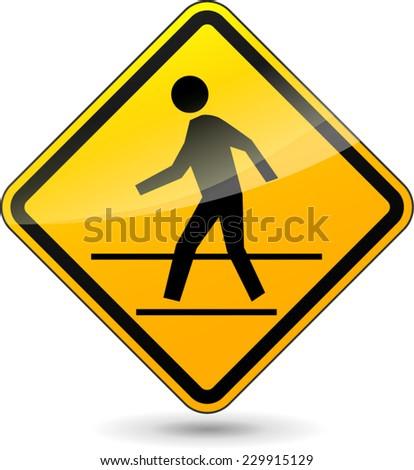 illustration of yellow design sign for crosswalk - stock vector