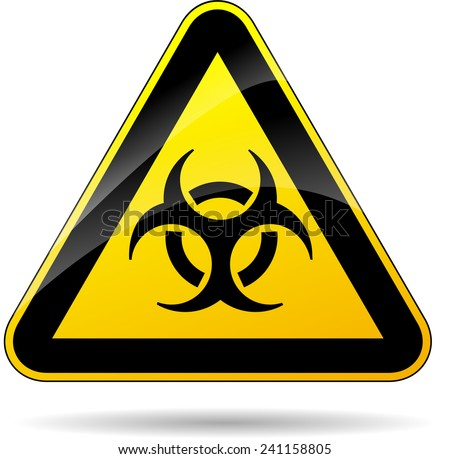 illustration of yellow triangle sign for biohazard - stock vector
