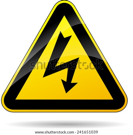 illustration of yellow triangle sign for electricity - stock vector