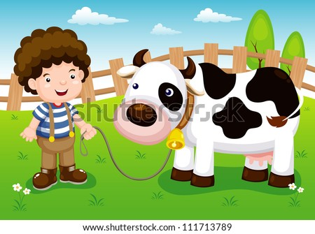 illustration of Young cattle and cow in farm - stock vector