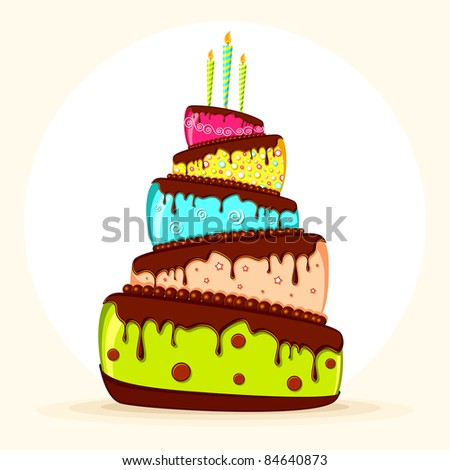 illustration of yummy colorful cake with burning candle on abstract background - stock vector