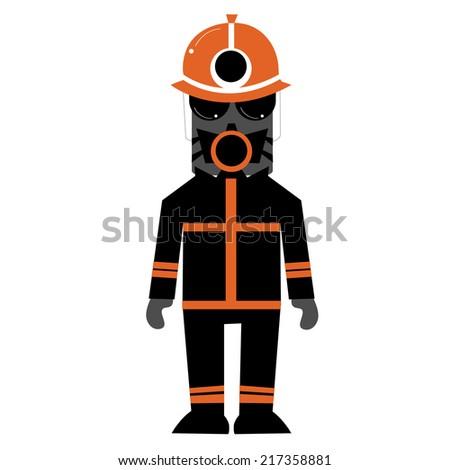Illustration of zombie fireman - stock vector