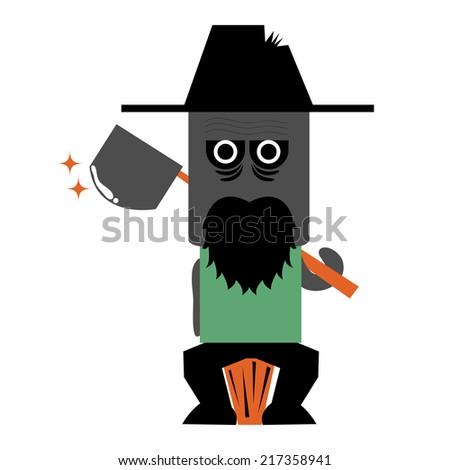 Illustration of zombie lumberjack  - stock vector