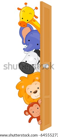 Illustration of Zoo Animals Peeping From Behind a Door - stock vector