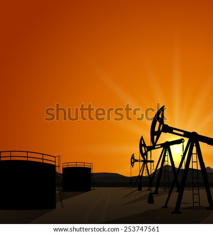 Illustration oil pump jack for petroleum and reserve tanks on sunrise background - vector - stock vector