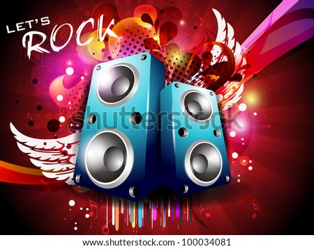 Illustration on a musical theme colorful lights abstract background  with speaker and wings.EPS 10, can be use as banner, flyer or poster for disco party and other events. - stock vector