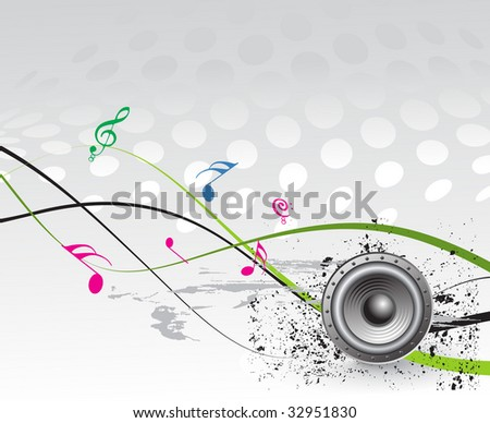 Illustration on a musical theme with music note background