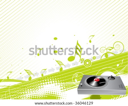 Illustration on a musical theme with turntable mixing beats - stock vector