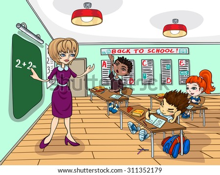 Illustration on a school theme. The teacher explains the lesson at the blackboard. The classroom. The pupils at their desks.