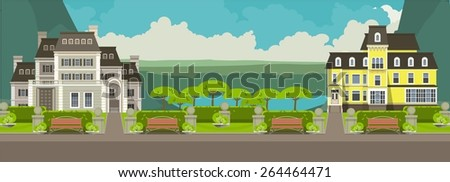 illustration on a vertical strip  picturesque mountain and the lake near which the two hotels or large mansion - stock vector