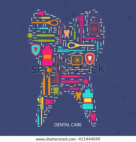 Illustration on   dental care theme. All objects are conveniently grouped  and are easily editable. Background pattern is horizontally seamless
