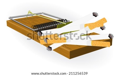 Illustration on the dangers of smoking with the image of a mousetrap and cigarettes - stock vector