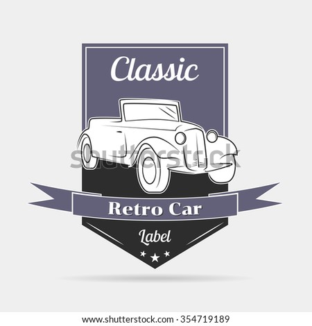 Illustration on the theme of a retro car, logo, label, blue, black - stock vector
