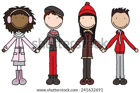 Illustration or four kids holding hands in winter clothes - stock vector