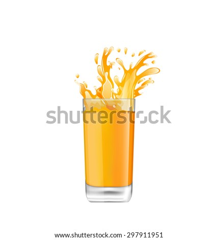 Illustration Orange Juice in Glass with Splash, Isolated on White Background - Vector - stock vector