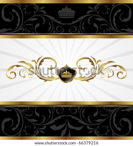 Illustration ornate golden decorative frame - vector - stock vector