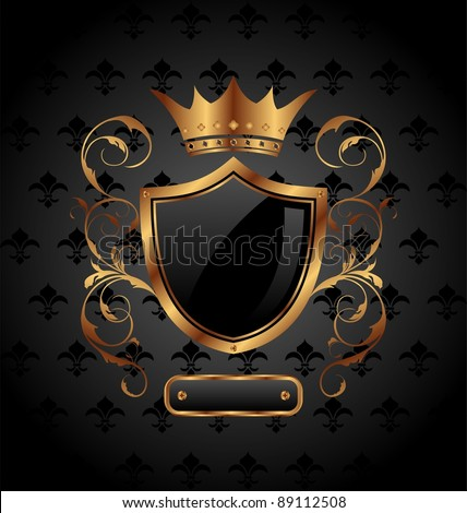 Illustration ornate heraldic shield with crown - vector - stock vector