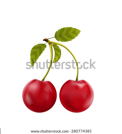 Illustration Pair Realistic Pulpy Cherries with Green Leaves Isolated on White Background - Vector - stock vector