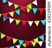 Illustration Party Background with Colorful Bunting Flags for Holidays. Bright Template for Poster, Postcard, Flyer - Vector - stock vector