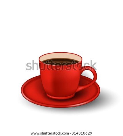 Illustration Photo Realistic Cup of Coffee Isolated on White Background - Vector - stock vector
