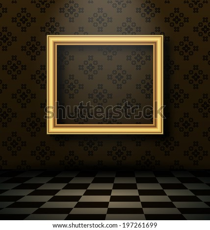 Illustration picture frame in baroque interior style - vector - stock vector
