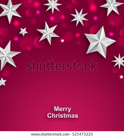 Illustration Pink Abstract Celebration Background with Silver Stars for Merry Christmas - Vector