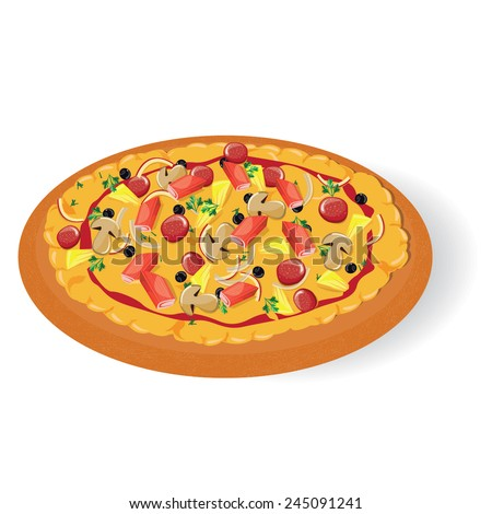 illustration,pizza seafood on white