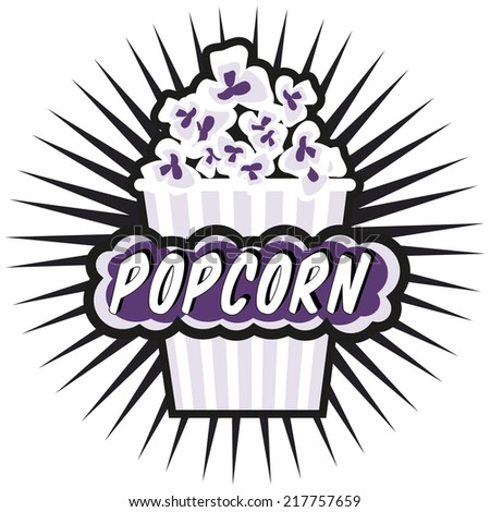 Illustration Popcorn in striped bucket on white background boom!