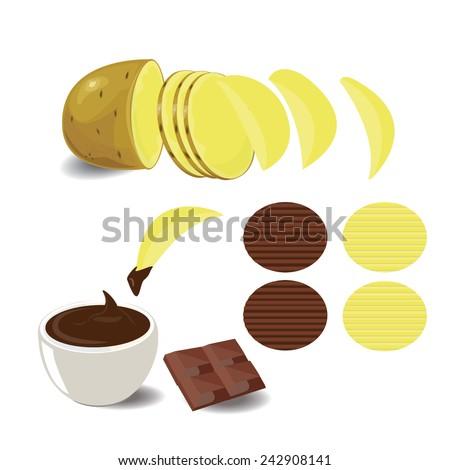 illustration Potatoes and Potato Chips modern on white - stock vector