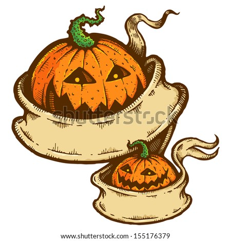 Illustration pumpkins for Halloween with a ribbon
