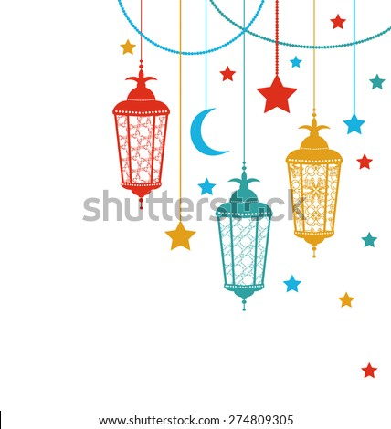 Illustration Ramadan Kareem Background with Lamps (Fanoos), Crescents and Stars - Vector - stock vector