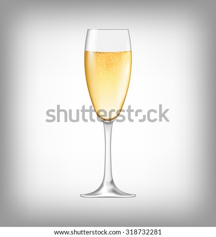 Illustration Realistic Glass of Champagne Isolated on White Background - Vector - stock vector