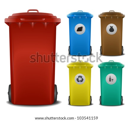 illustration recycling bins with different colors and symbols - stock vector