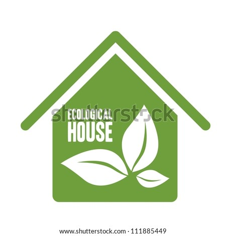 Illustration recycling, ecological house with leaves, vector illustration - stock vector