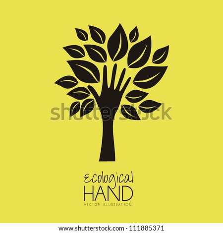 Illustration recycling, hand forming a tree with leaves, helping nature, vector illustration - stock vector