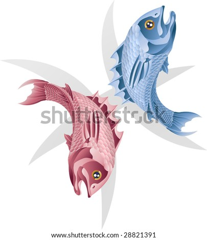 Illustration representing Pisces the fish star or birth sign. Includes the symbol or icon in the background - stock vector