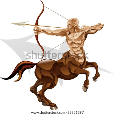 Illustration representing sagittarius the archer star or birth sign. Includes the symbol or icon in the background