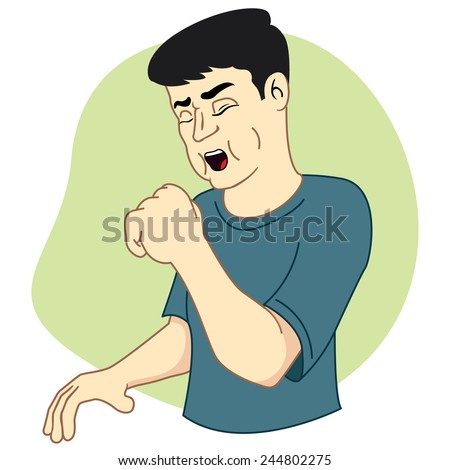 Illustration represents a masculine character with cough - stock vector