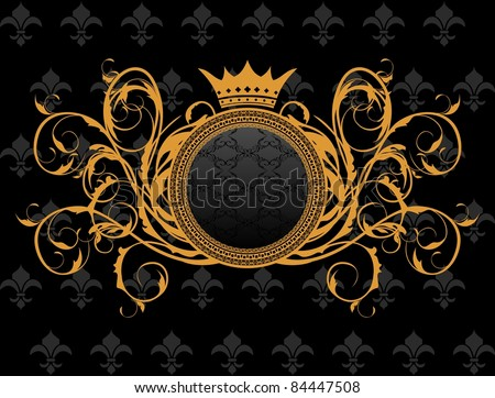 Illustration retro frame with heraldic crown - vector