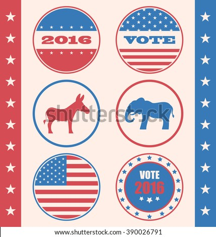 Illustration Retro Style of Button for Vote or Voting Campaign Election. Set Vintage Badge with Symbols of United States Political Parties - Vector - stock vector