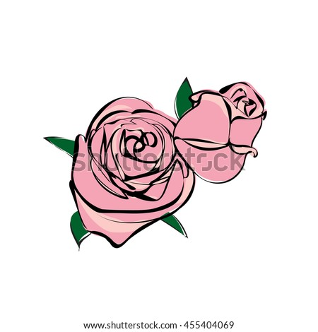 illustration rose flowers vector file, sketch style , doodle, pink two rose - stock vector
