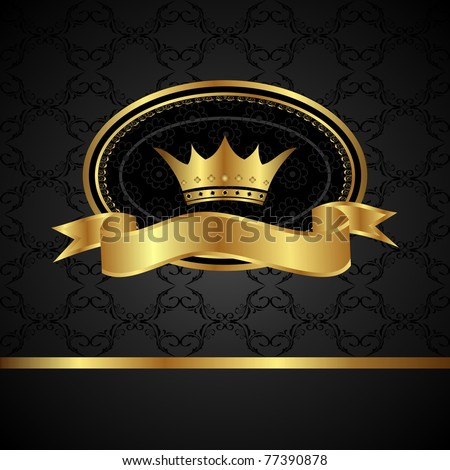Illustration royal background with golden frame - vector - stock vector