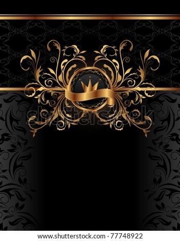 Illustration royal background with golden frame - vector - stock vector